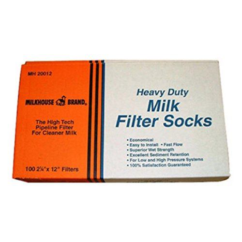 MILKHOUSE BRAND Durable Pipeline Milk Purifier Filter Socks - moderate to high pressure system - 100 per box - 2-1/4'' X 12'' by MILKHOUSE BRAND