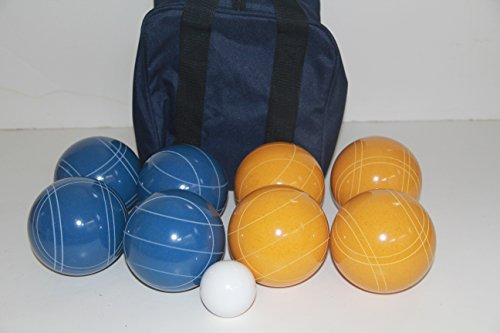 Premium Quality and American Made, 110mm EPCO Bocce Set - Rustic Yellow/Blue balls and blue/black bag by BuyBocceBalls