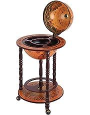 "HOMCOM Rolling 18"" Globe Wine Bar Stand Wine Cabinet Bottle Shelf Holder Wine Host Trolley with Wheels"