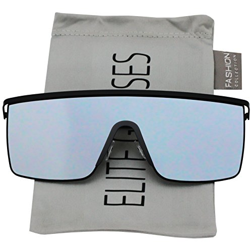 Oversized Flat Top Square VINTAGE RETRO SHIELD VISOR Style Aviator SUNGLASSES (Silver Mirror) ()
