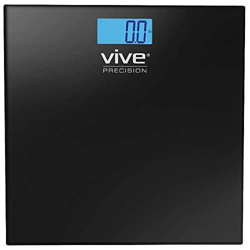 Vive Precision Digital Bathroom Scale - Weight Scale Measuring Device- Electronic Body Scale, Easy to Read, Backlit Display - Accurate to .2 LBs, Black by Vive Precision