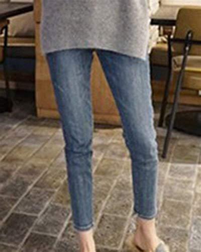 Huixin De Pantalones Elásticos Blau Vaqueros Cintura Alta Con Y Ajustados Stretch Chelé Mezclilla rqrd5