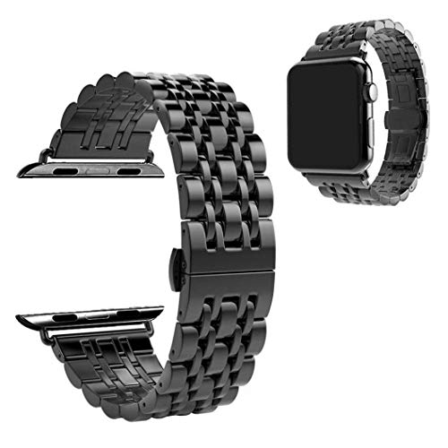 WETERS Iwatch Strap for Apple Watch Series 4 Sports Version 40MM Seven Beads Butterfly Buckle Wristband,Black ()