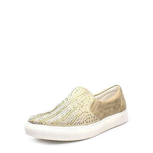 Diamante On Coloured Skater Womens Flat Gold Pump Pippa Trainer Ladies Slip YxwgIx7q