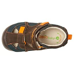 Momo Baby Boys First Walker/Toddler Thomas Navy/Brown Leather Sandals - 7.5 M US Toddler