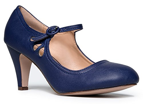Kitten Heels Mary Jane Pumps By Zooshoo- Adorable Vintage Shoes- Unique Round Toe Design With An Adjustable Strap,Navy,6 B(M) US -