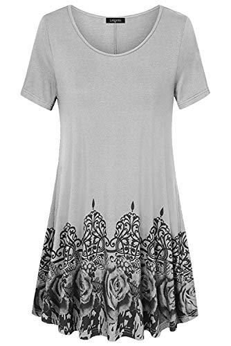 Mini Bohemien Eleganti shirt Taglie Estivi T Abito Stampa Abiti Tunica Vestiti Grigio Casual Manica Corta Floreale Pullover Donna Vestito Con toBhQdxsrC