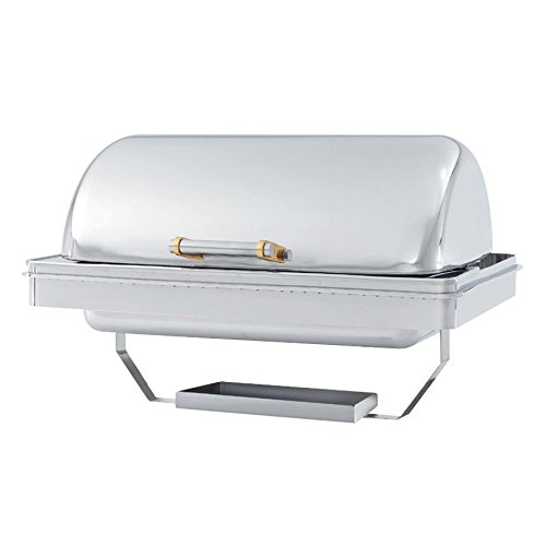 - Vollrath 48758 9 Qt. Silverplated New York, New York Drop-In Retractable Dripless Chafer Full Size with Brass Trim