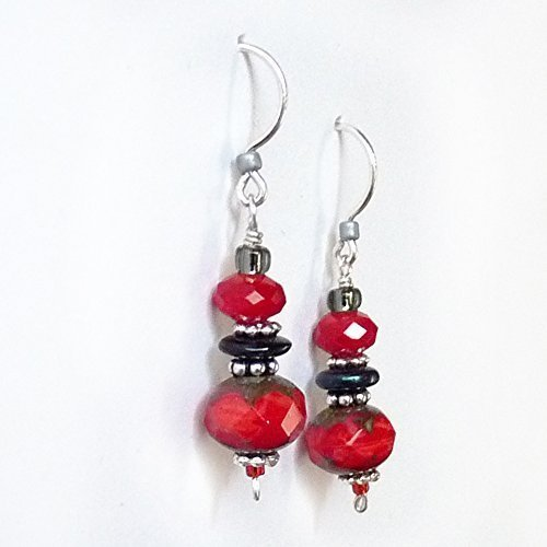 Handmade Earring Black (Romantic Red & Black Sterling Silver Dangle Drop Earrings - Red Crystal & .925 Sterling Silver, Handmade Red, Grey, Black, Beaded Drop Earrings - Mothers Day Gift, Gift for Women (Small-1.25
