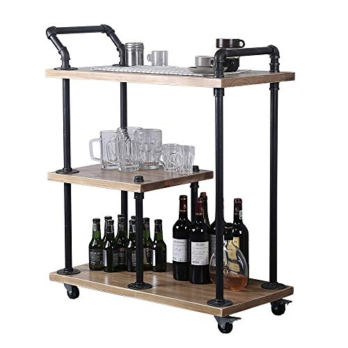 TMGY Industrial Bar Carts for The Home,Small Serving Cart with  Wheels,Portable Kitchen Carts on Wheels,3-Tier Pipe Rolling Wine Bar Wine  Rack, Wood