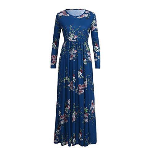 Alimao Floral De La Taille D'impression À Manches Longues Poches O-cou Empire Des Femmes 2018new Robes Maxi Long Plissé Bleu