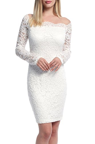 Women Lace Dress,Ninedaily Off Shoulder Vintage Retro Fit and Flare White L
