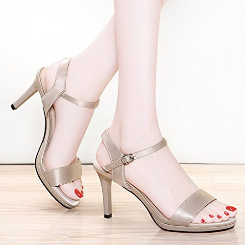 Shoes Summer Sandals Female Sexy Thin Black Heels High PU Heels Apricot Apricot Open Women's Toe HRRqWOwU