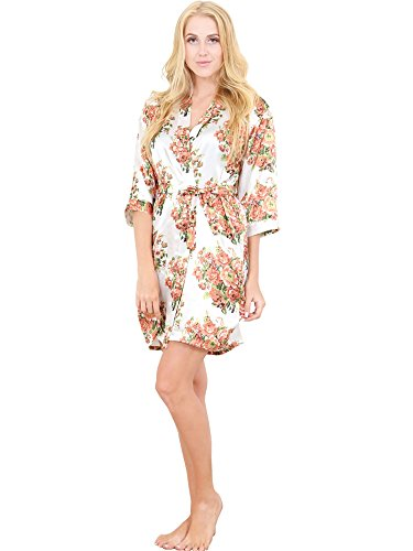 Mr & Mrs Right Womens Satin Short Floral Wedding Robe - Bridesmaids Dressing Gown