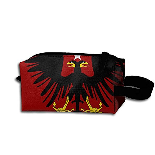 Flag Of Albania Bird Portable Pencil Bag Coin Purse Pouch Stationery Storage Organizer Case Cosmetic Makeup Brush Holder With Durable Zipper For Students Office