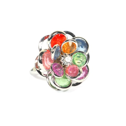 Magic Metal Rainbow Crystal Flower Ring Adjustable Silver Tone RD12 Floral Petals Fashion Jewelry