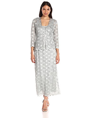 R&M Richards Women's 2 PCE Lace Swing Jacket Dress, Silver, 18