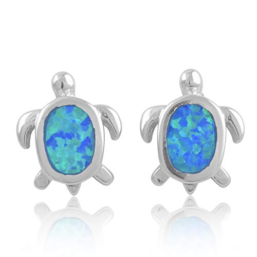 Sterling Silver Created Blue Opal Sea Turtle Stud Earrings (Studs Blue Sea)