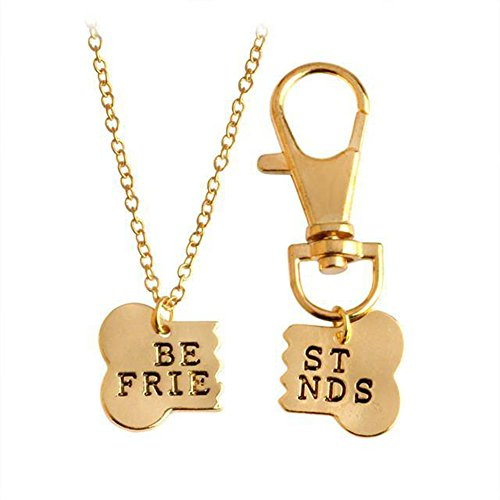stylesilove Handstamped BFF Best Friend Dog Bones Friendship Charm Necklace and Key Chain 2-pc Set (Gold) (Key Charm Necklace)