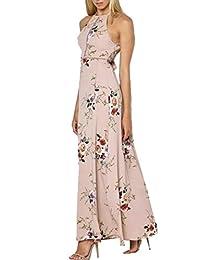 Women Sleeveles Boho Off Shoulder Long Maxi Casual Floral Dresses