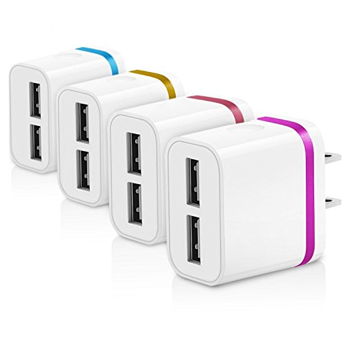 Certified 2-Port 2.1A USB Power Adapter [4-Pack] Universal Wall Charger Cube for Plug Outlet for iPhone 8 / X / 7 / 6S / Plus +, iPad, Samsung Galaxy, Motorola, (Plug 8 Outlets)