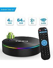 T95Q Android 9.0 TV Box 4GB RAM 64GB ROM Amlogic S905X2 Cortex-A53 Bluetooth 4.1 HDMI 2.1 H.265 4K Auflösung 2.4GHz und 5 GHz Dualband WiFi Videoplayer