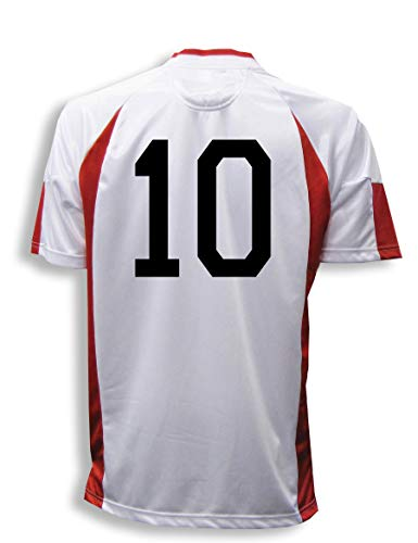(Imperial soccer jersey customized with your player number - size Adult S - color White/Red)
