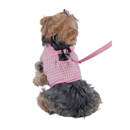 Anima Houndstooth Jersey Dog Vest Harness/Leash Set, Large, Pink/White