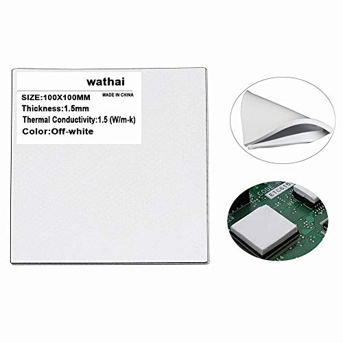 Wathai Off-White 100x100x1.5mm 1.5mm Silicone Pad Thermal Conductivity 1.5 W/mk Thermal pad for GPU CPU PS3 PS2 Xbox Heatsink Cooling