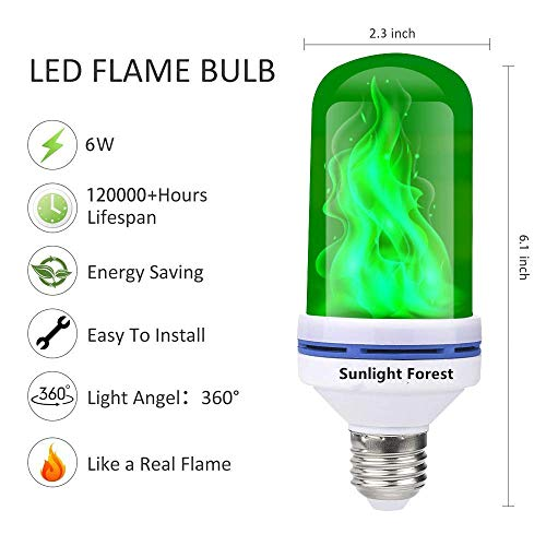 OMK - LED Flame Effect Fire Light Bulbs - Newest Upgraded 4 Modes Green Flickering Fire Simulated Lamps - E26 Base LED Bulb - 6W Energy Efficient Fire Lights for Indoor/Outdoor Decoration (4Pack)
