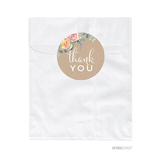 Andaz Press Peach Kraft Brown Rustic Floral Garden Party Baby Collection, Favor Bag DIY Party Favors Kit, Baby Shower Thank You!, (Personalized Cookie Favors)