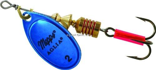 (Aglia In-Line Spinner, 1/6 oz, Plain Treble Hook, Blue & Platinum Blade)