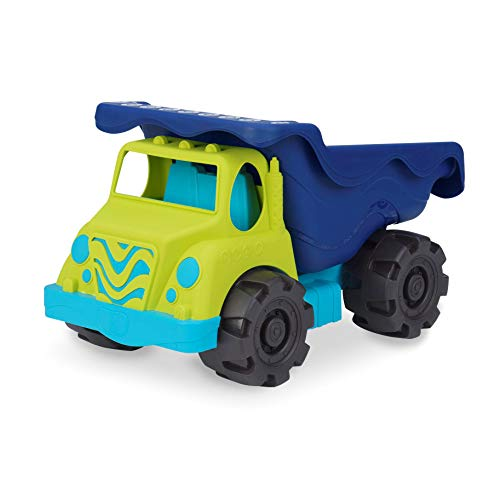 "B. Toys - Colossal Cruiser - 20"" Large Sand Truck - Beach Toy Dump Trucks for Kids 18 M+ (Lime/Navy)"