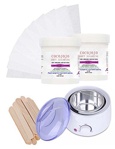 Sugaring Wax Warmer + Cocojojo 2 Jars of 22 Oz Each of Natural Soft Sugar Wax for Medium and Fine Hair for Bikini, Brazilian Body and Face +200 Strips