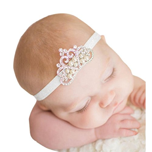 [Baby Girl Crown Hairband CocoMarket Princess Crystal Pearl hair band (C)] (Halloween Costumes With Pink Hair)