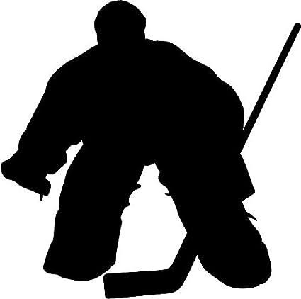Amazon Com 6 White Vinyl Hockey Player Goalie 1 Silhouette