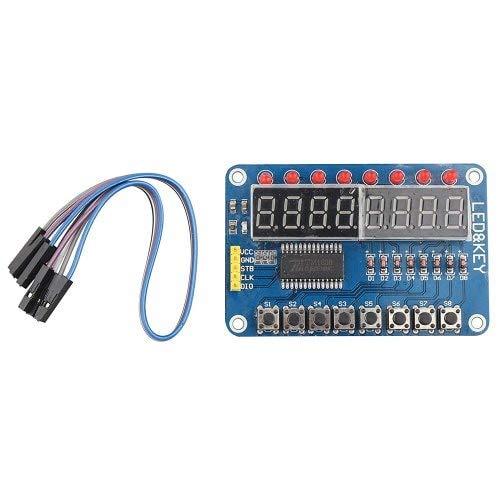 HaiM TM1638 Chip Key Display Module 8 Bits Digital LED Tube for AVR Arduino - Blue ()