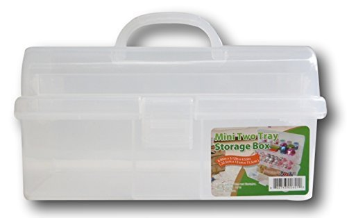 Clear Plastic Mini Two Tray Art Supply Craft Storage Tool Box   8.9 Inches