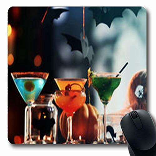 Pandarllin Mousepads Glass Close View Cocktails Halloween Food Drink Holidays Celebration Oblong Shape 7.9 x 9.5 Inches Oblong Gaming Mouse Pad Non-Slip Rubber Mat]()