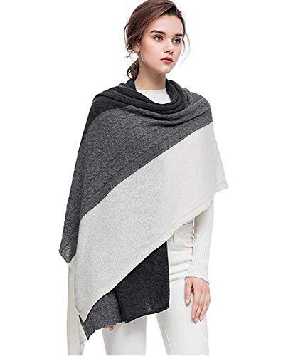 Fincati Women Scarves 100% Goat Cashmere Winter Wrap Pashmina 65x30 Contrast Color Twist Knit Shawl