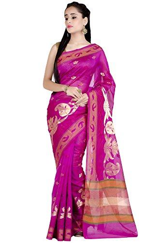 Chandrakala Women's Pink Banarasi Cotton Silk - Saree Sari Silk