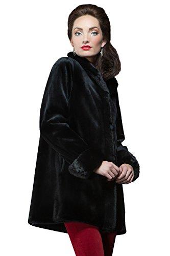 Sheared Mink Jacket - EM-EL Women's Black Sheared Mink Reversible Fur Jacket