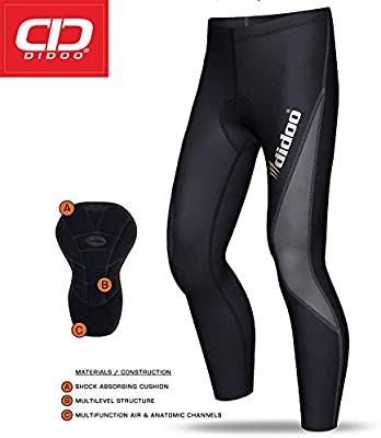 Men Bike Cycling Bicycle Pants Cushion Padded Tights Long Trousers Quick-Dry