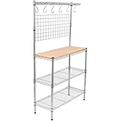 Internet's Best 3-Tier Baker's Rack | Chrome | Kitchen Storage Shelving | Adjustable Wire Stand Removable Cutting Board 6 Hanging Hooks