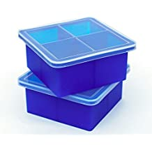 """Kelsey Adele King Cube Ice Tray with Lid - Premium Silicone Mold for 2"""" Large Cubes, Best For Whiskey Bourbon Scotch Lovers; Good For Baby Food Freezer Storage, Freezing Instant Pot Broth - 1/2 Cup, Perfect Square, Stackable, No Spill, Set of 2 Trays"""