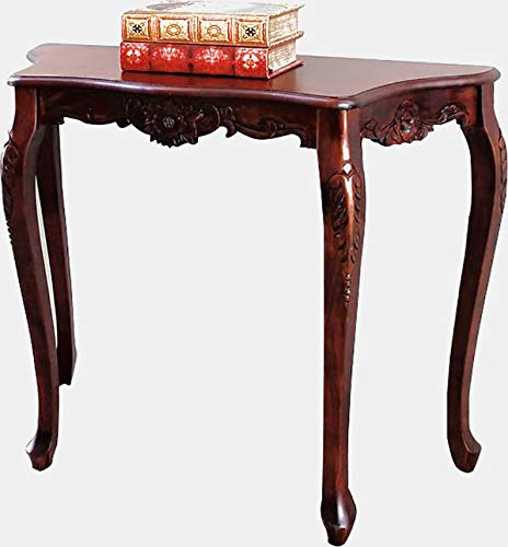 Wood Console Table with Curved Legs - Hand Carved Console Table - Mahogany