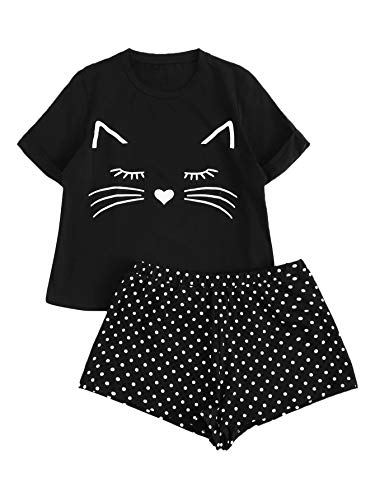 DIDK Women's Cat Print Cuffed Top and Polka Dot Shorts Pajama Set Black L