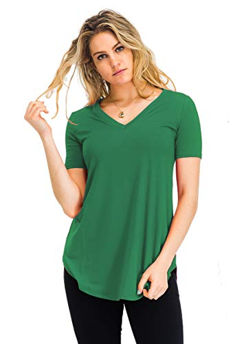 1 Ladies Green - Relaxed Fit Premium Short Sleeve V-Neck Round Hem Top Shirts Kelly Green 1X