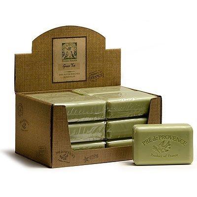 Case of 12 Pre de Provence 250g Green Tea Shea Butter Enriched Triple Milled Soap (Milled Triple Soap Bath)