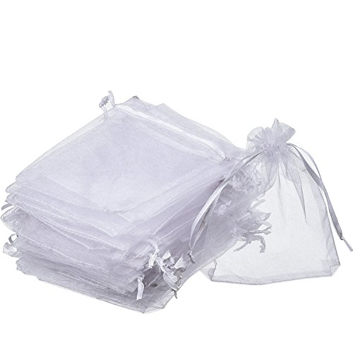 Wedding Favor Bags (Mudder Organza Gift Bags White Wedding Party Favor Bags Jewelry Pouches Wrap (50 Pack, 4 x 4.72 Inches))